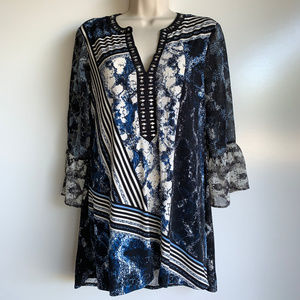 Style & Co Blue/Black/White Studded Tunic Top Sml